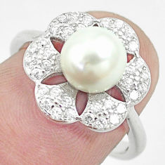 4.06cts natural white pearl topaz 925 sterling silver ring size 6.5 c25281