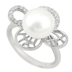 Natural white pearl topaz 925 sterling silver ring jewelry size 6.5 c22309