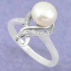 Natural white pearl topaz 925 sterling silver ring jewelry size 6.5 c22311