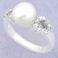 Natural white pearl topaz 925 sterling silver ring jewelry size 7.5 c25030