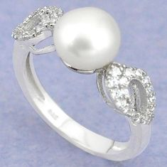 Natural white pearl topaz 925 sterling silver ring jewelry size 6.5 c25031