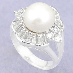 Natural white pearl topaz 925 sterling silver ring jewelry size 5.5 c25070