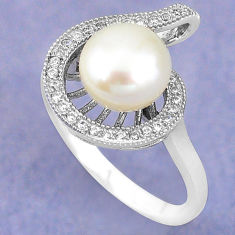 Natural white pearl topaz 925 sterling silver ring jewelry size 7.5 c25095