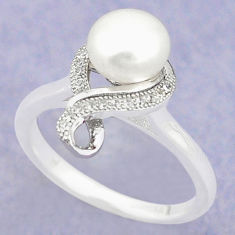 Natural white pearl topaz 925 sterling silver ring jewelry size 7.5 c25123