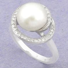 Natural white pearl topaz 925 sterling silver ring jewelry size 5.5 c25140