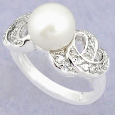 Natural white pearl topaz 925 sterling silver ring jewelry size 5.5 c25167