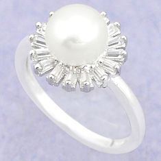 Natural white pearl topaz 925 sterling silver ring jewelry size 5.5 c25195