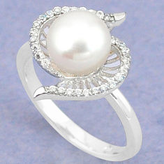 Natural white pearl topaz 925 sterling silver ring jewelry size 9.5 c25203