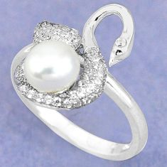 Natural white pearl topaz 925 sterling silver ring jewelry size 8.5 c25204