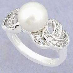 Natural white pearl topaz 925 sterling silver ring jewelry size 8.5 c25226