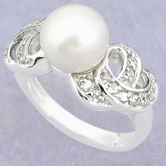Natural white pearl topaz 925 sterling silver ring jewelry size 6.5 c25235