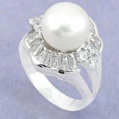 Natural white pearl topaz 925 sterling silver ring jewelry size 6.5 c25269