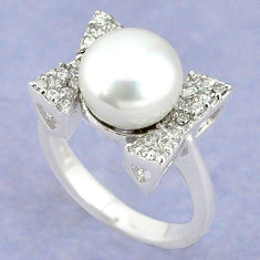 Natural white pearl topaz 925 sterling silver ring jewelry size 7.5 c25273
