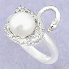 Natural white pearl topaz 925 sterling silver ring jewelry size 5.5 c25312