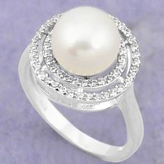 Natural white pearl topaz 925 sterling silver ring jewelry size 5.5 c25394