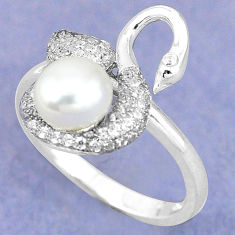 Natural white pearl topaz 925 sterling silver ring jewelry size 8.5 c25419