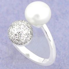 Natural white pearl topaz 925 sterling silver ring jewelry size 5.5 c25422