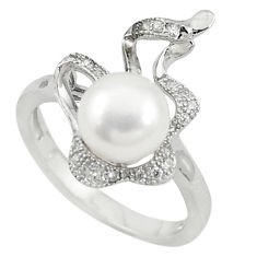 Natural white pearl topaz 925 sterling silver ring jewelry size 6 c22312