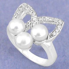 Natural white pearl topaz 925 sterling silver ring jewelry size 6 c25061