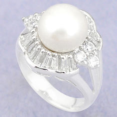 Natural white pearl topaz 925 sterling silver ring jewelry size 6 c25072