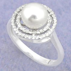 Natural white pearl topaz 925 sterling silver ring jewelry size 6 c25134
