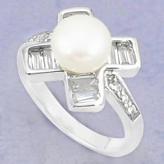 Natural white pearl topaz 925 sterling silver ring jewelry size 6 c25146