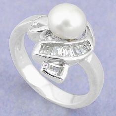 Natural white pearl topaz 925 sterling silver ring jewelry size 6 c25208