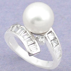 Natural white pearl topaz 925 sterling silver ring jewelry size 6 c25236