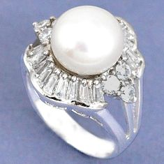 Natural white pearl topaz 925 sterling silver ring jewelry size 6 c25238