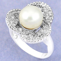Natural white pearl topaz 925 sterling silver ring jewelry size 6 c25262