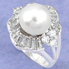Natural white pearl topaz 925 sterling silver ring jewelry size 6 c25263