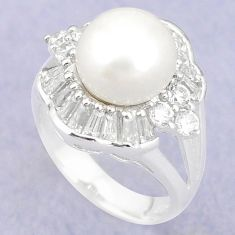 Natural white pearl topaz 925 sterling silver ring jewelry size 6 c25275