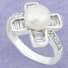 Natural white pearl topaz 925 sterling silver ring jewelry size 6 c25302