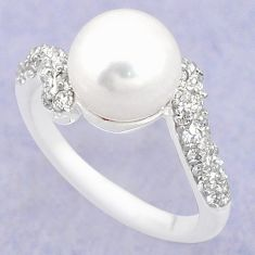 Natural white pearl topaz 925 sterling silver ring jewelry size 6 c25415