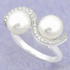 Natural white pearl topaz 925 sterling silver ring jewelry size 6 c25434