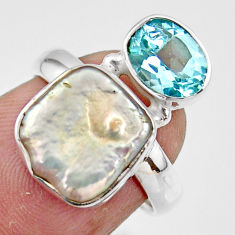 6.88cts natural white pearl topaz 925 sterling silver ring jewelry size 6 r46905