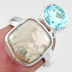 7.60cts natural white pearl topaz 925 sterling silver ring jewelry size 6 r46916