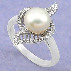 Natural white pearl topaz 925 sterling silver ring jewelry size 7 c22313