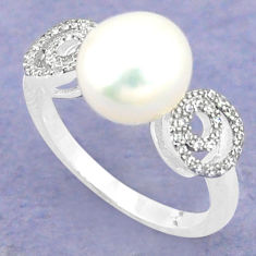 Natural white pearl topaz 925 sterling silver ring jewelry size 7 c25009