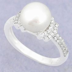 Natural white pearl topaz 925 sterling silver ring jewelry size 7 c25021