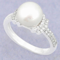 Natural white pearl topaz 925 sterling silver ring jewelry size 7 c25026
