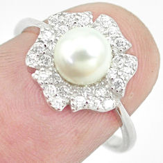2.72cts natural white pearl topaz 925 sterling silver ring jewelry size 7 c25058