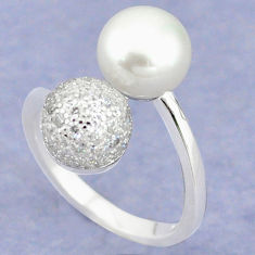 Natural white pearl topaz 925 sterling silver ring jewelry size 7 c25114