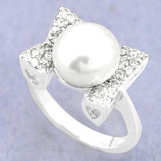 Natural white pearl topaz 925 sterling silver ring jewelry size 7 c25138