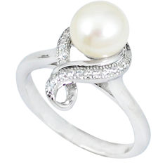 Natural white pearl topaz 925 sterling silver ring jewelry size 7 c25171