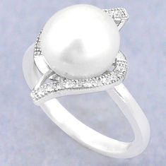 Natural white pearl topaz 925 sterling silver ring jewelry size 7 c25175
