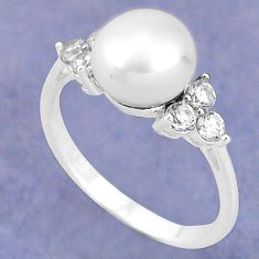 Natural white pearl topaz 925 sterling silver ring jewelry size 7 c25198
