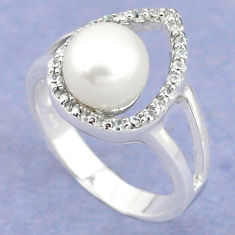 Natural white pearl topaz 925 sterling silver ring jewelry size 7 c25199