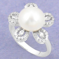 Natural white pearl topaz 925 sterling silver ring jewelry size 7 c25202