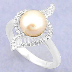 Natural white pearl topaz 925 sterling silver ring jewelry size 7 c25254
